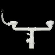 Итальянский сифон для кухонной мойки с двумя чашами с круглым переливом  WISENT GER011